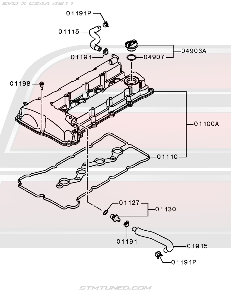 oem evo x engine > valve cover / rocker cover diagram (11-110)  street tuned motorsports