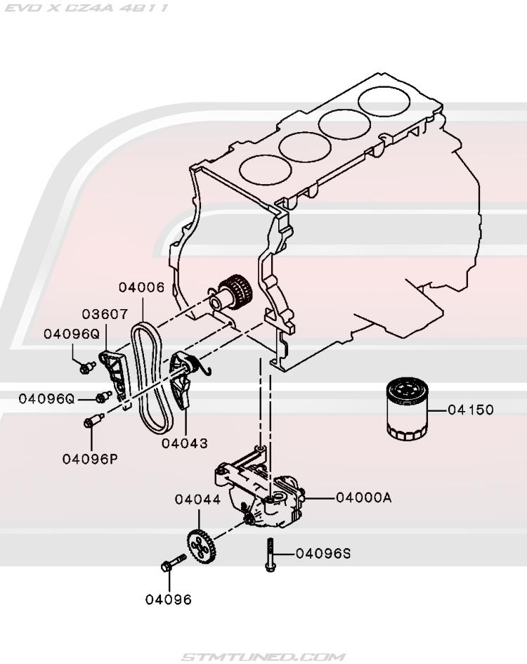 oem evo x engine > lubrication: oil pump & oil filter (12-110)  street tuned motorsports