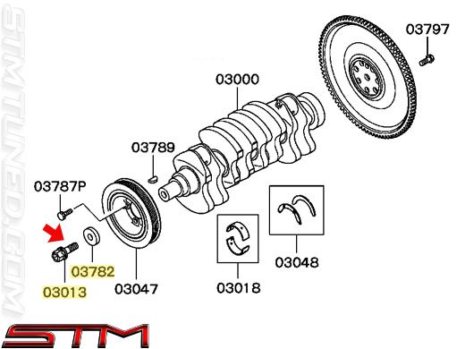 stm  oem mitsubishi crank pulley center bolt  u0026 washer